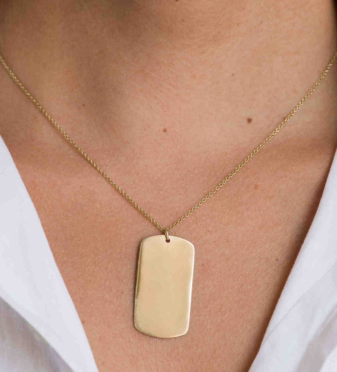 14k Gold Dog Tag Necklace