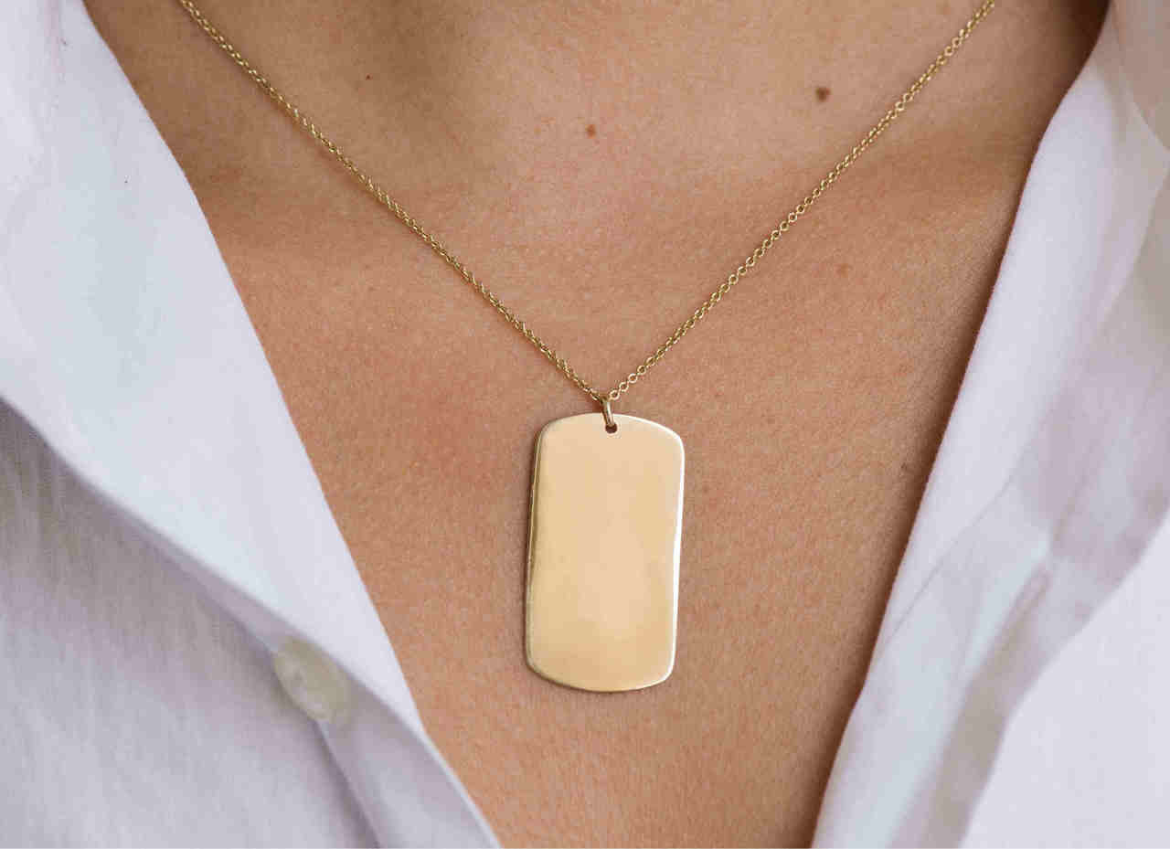 14k Gold Engraved Dog Tag