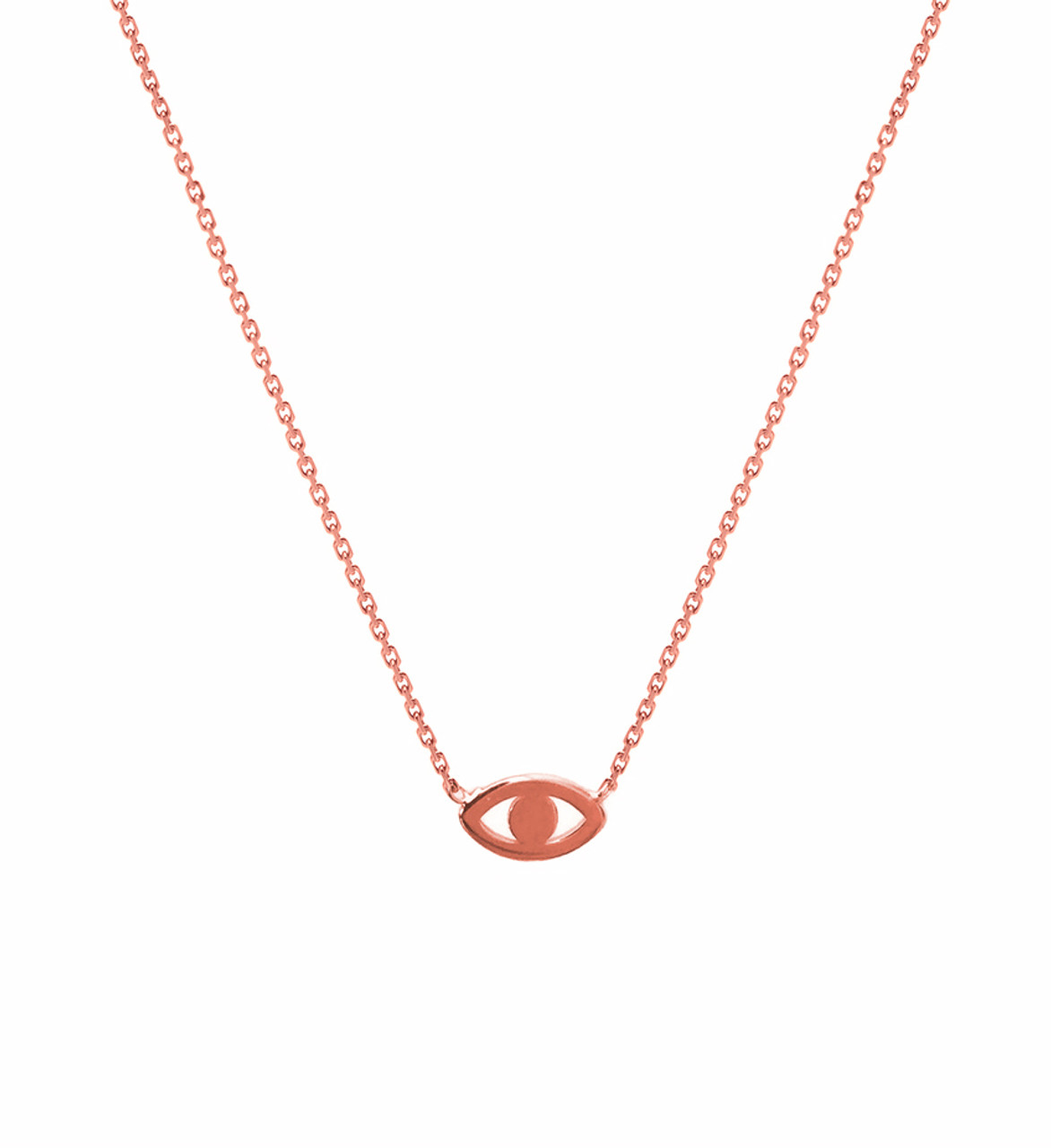 14k gold mini evil eye necklace