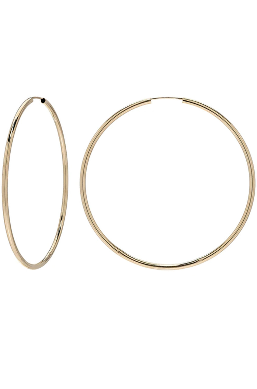 14k gold thin large hoops