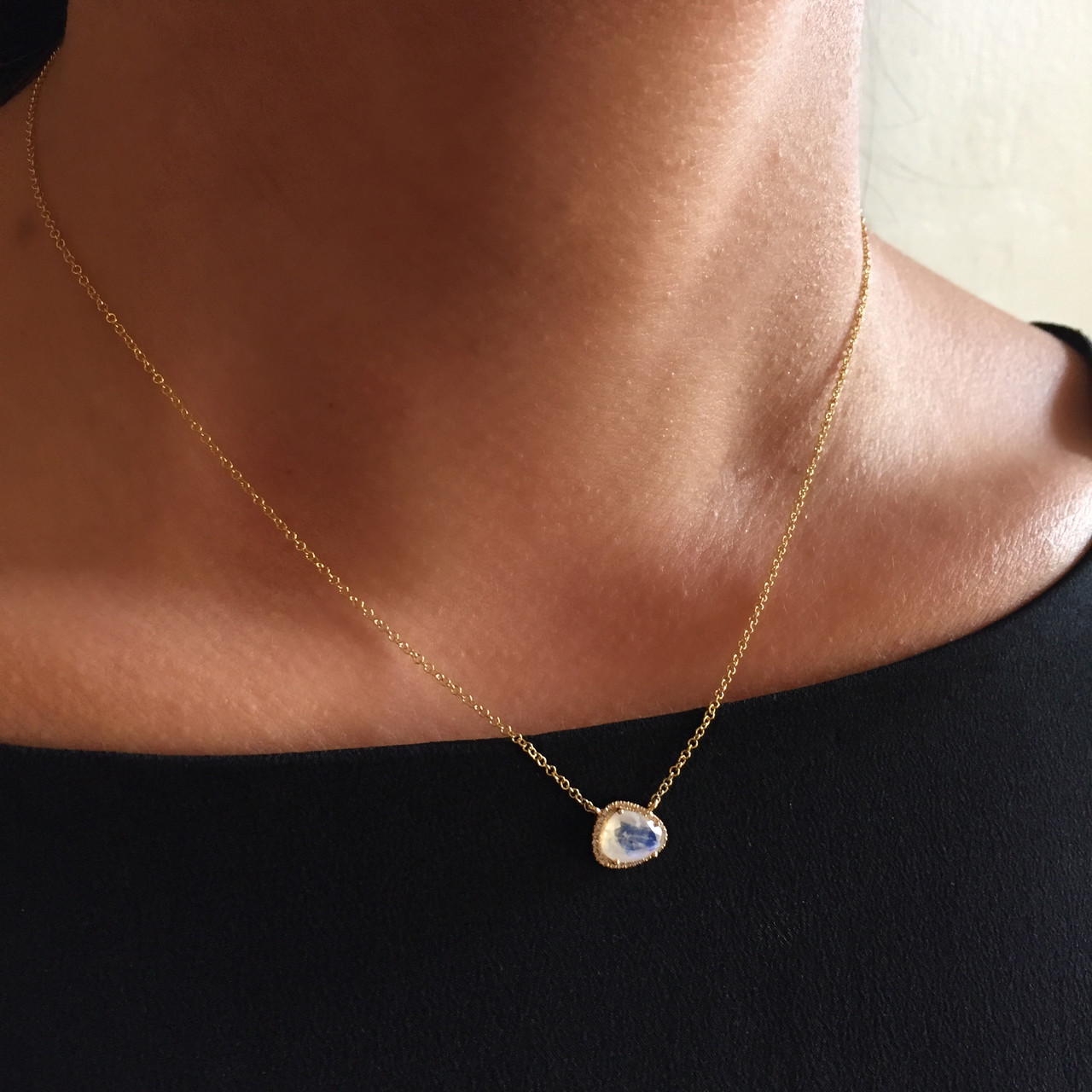 Diamond moonstone necklace