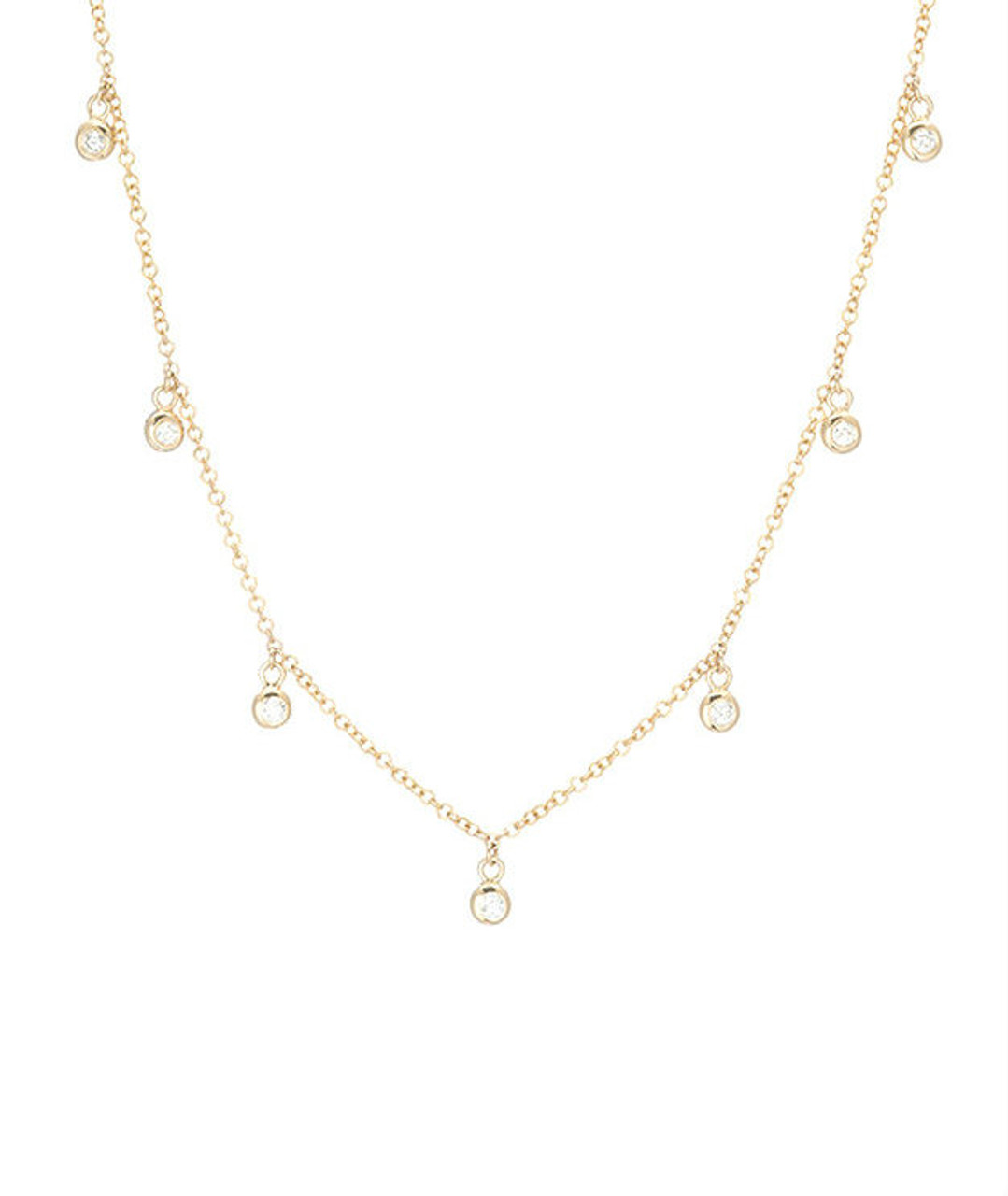 Drop Bezel Diamond Necklace