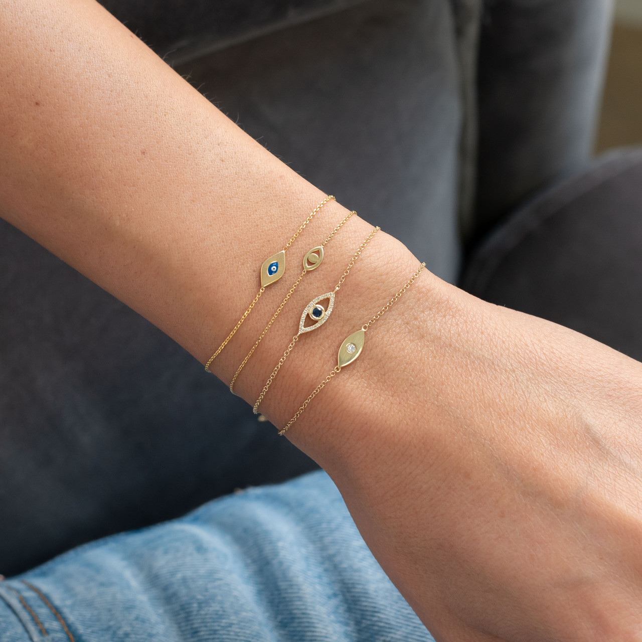 14k Gold Diamond Evil Eye Bracelet