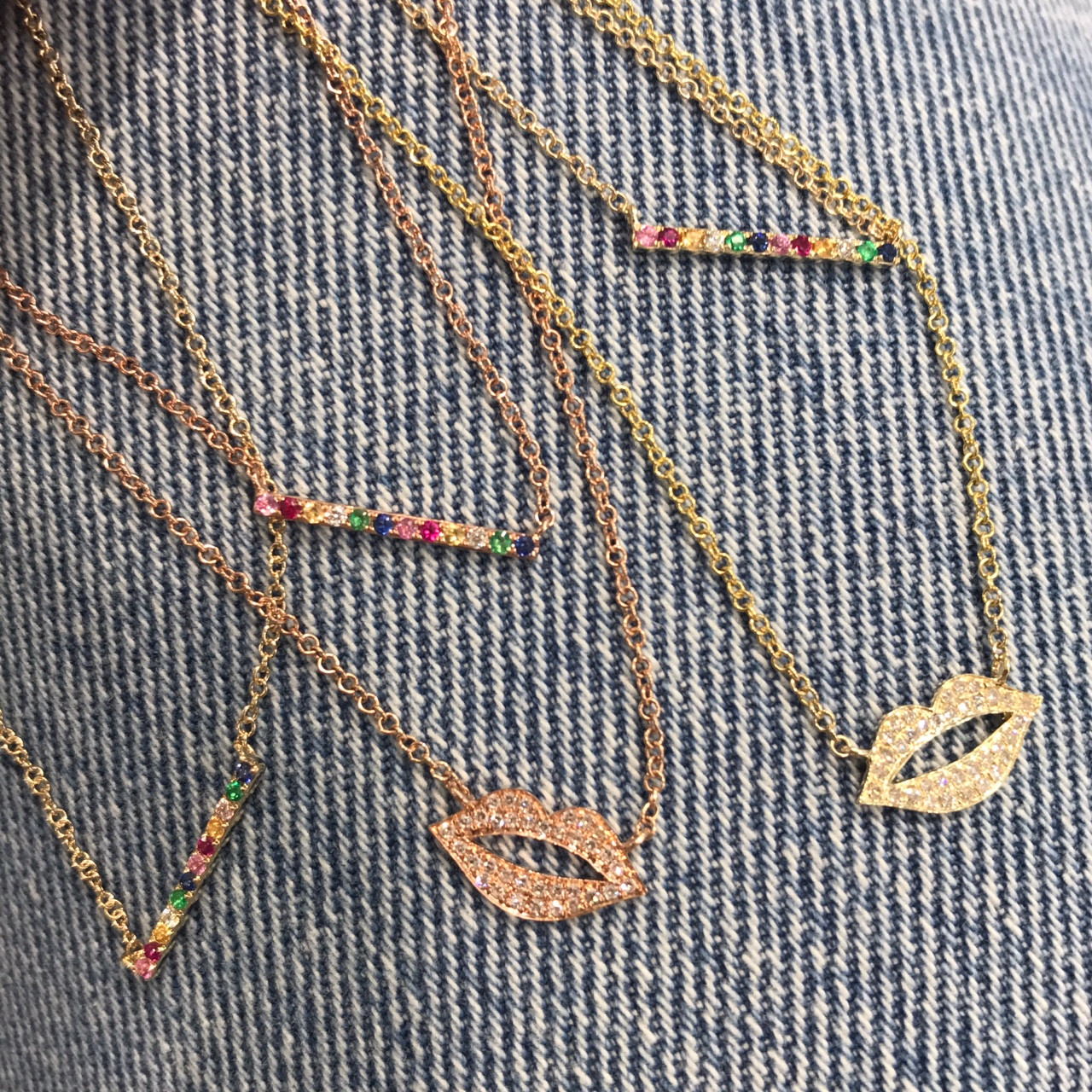 14k gold rainbow bar necklace