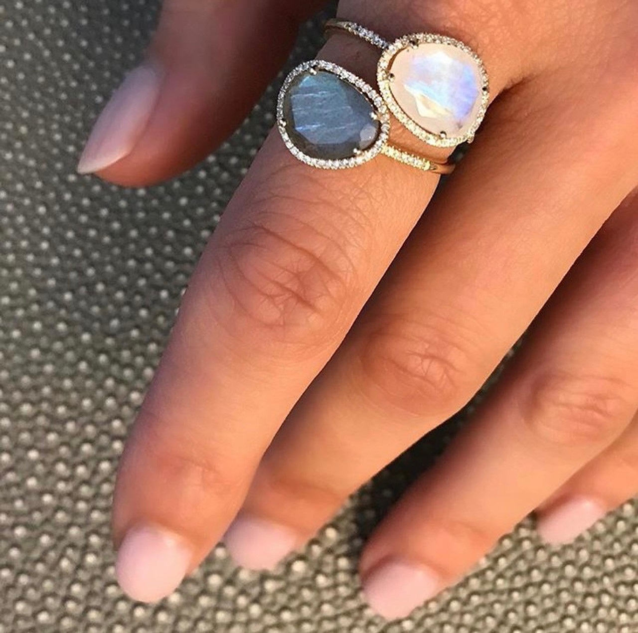 Diamond moonstone ring