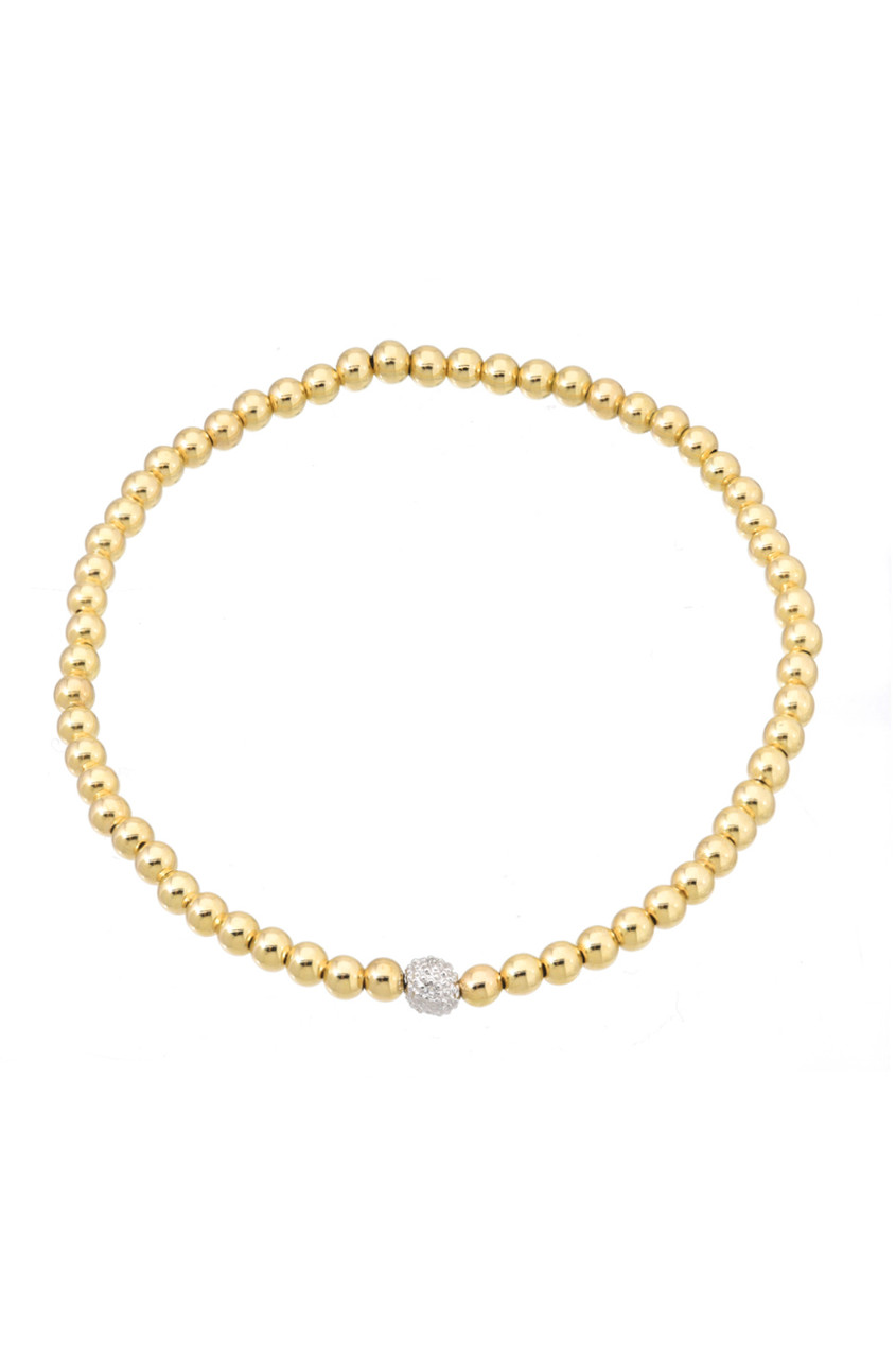 4mm Gold Bead Bracelet with Diamond Bead