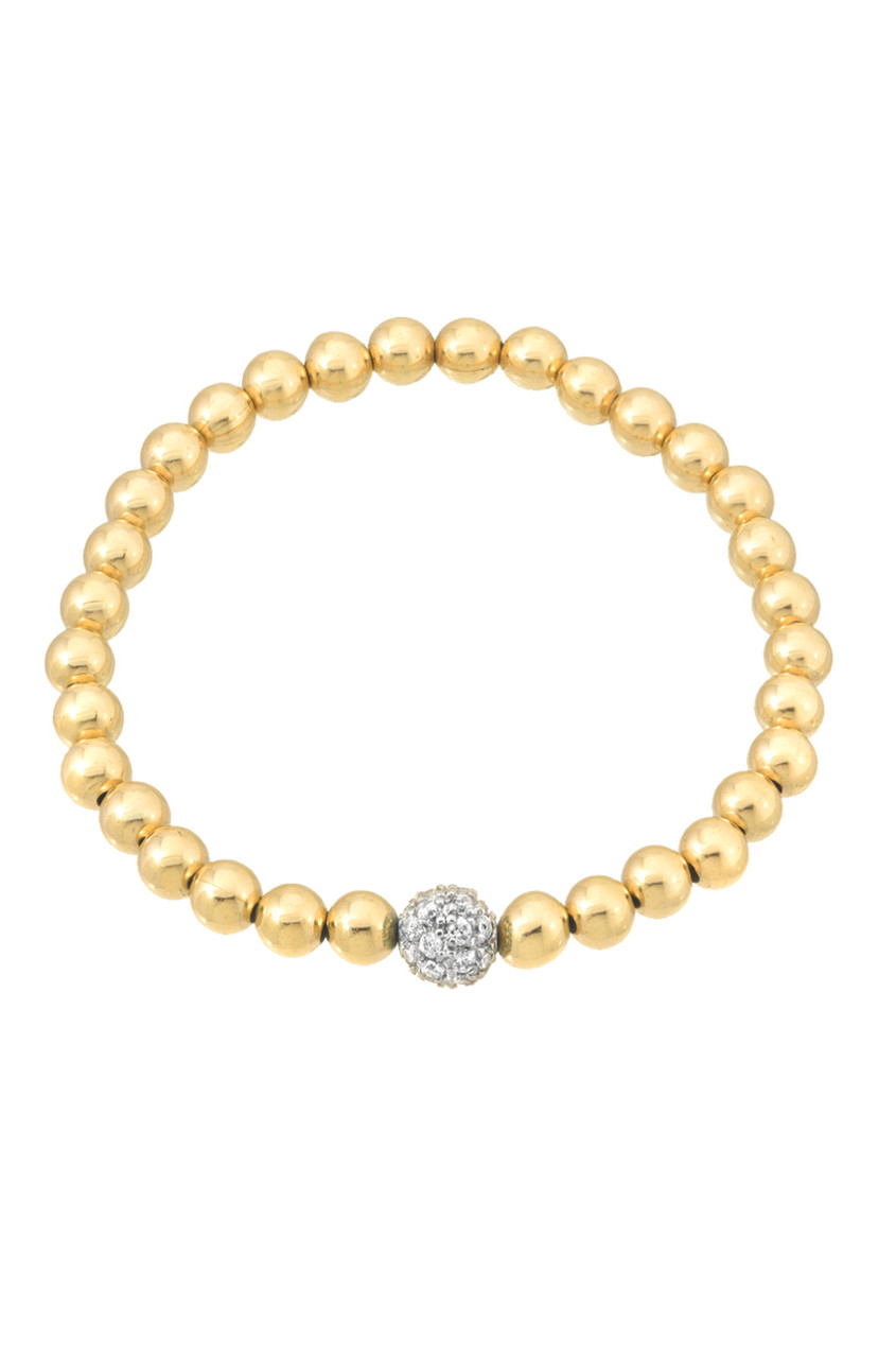 6mm gold bead bracelet with diamond bead