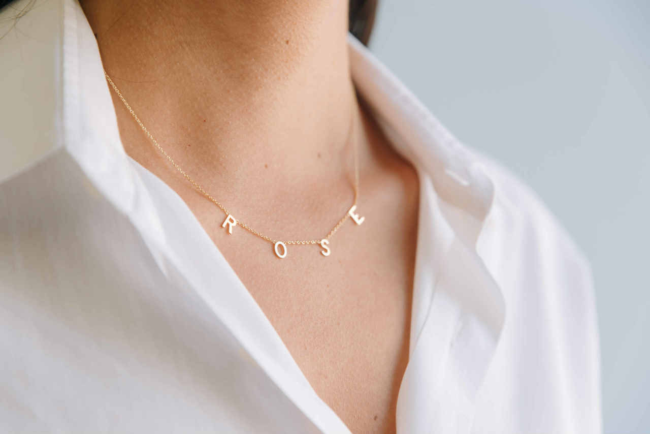 14k Gold Spaced Initial Necklace