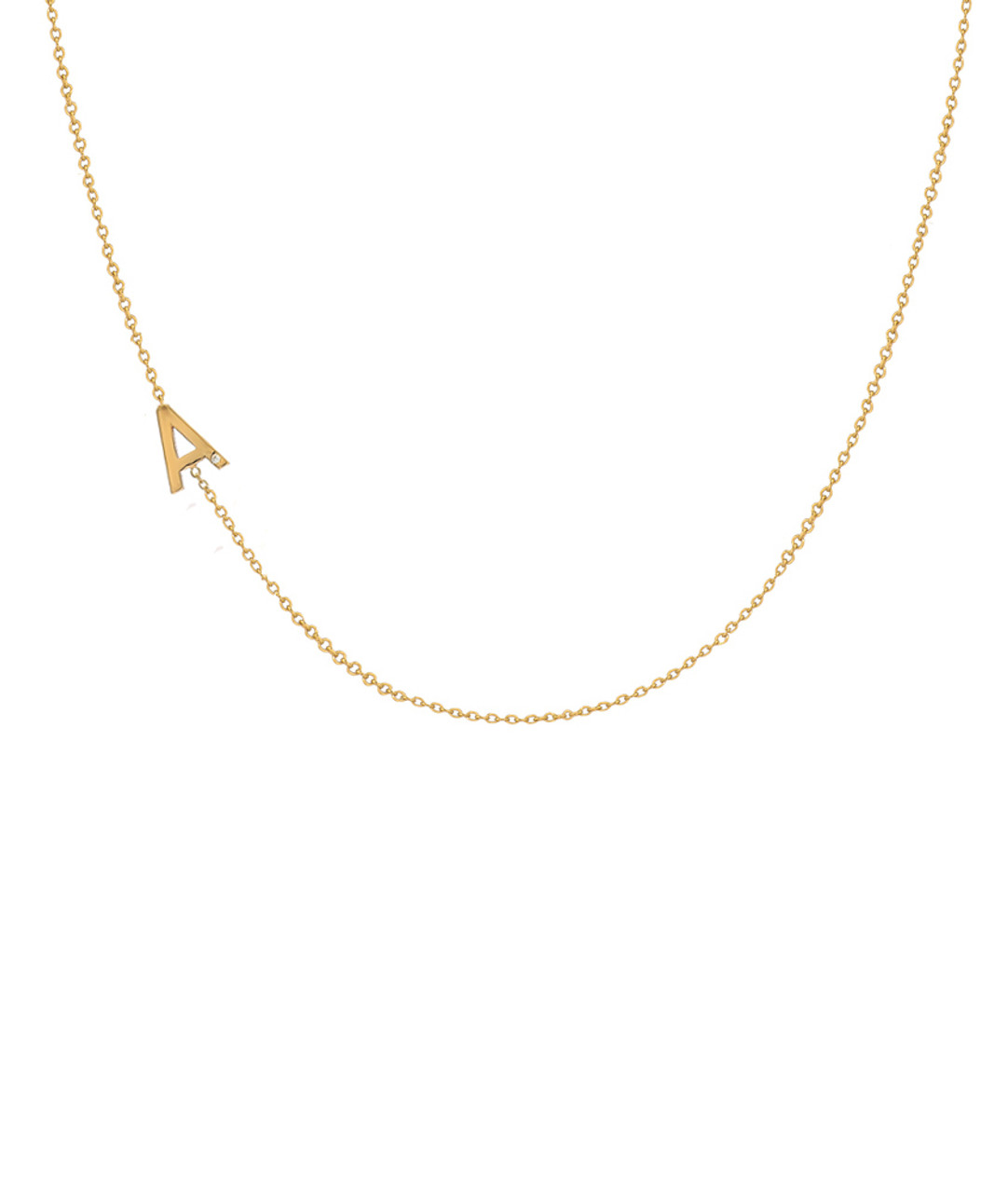 14k Gold Asymmetrical Initial with Tiny Diamond Necklace
