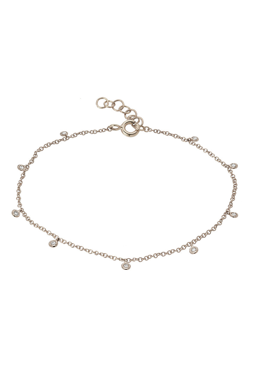 14k gold diamond by the yard anklet