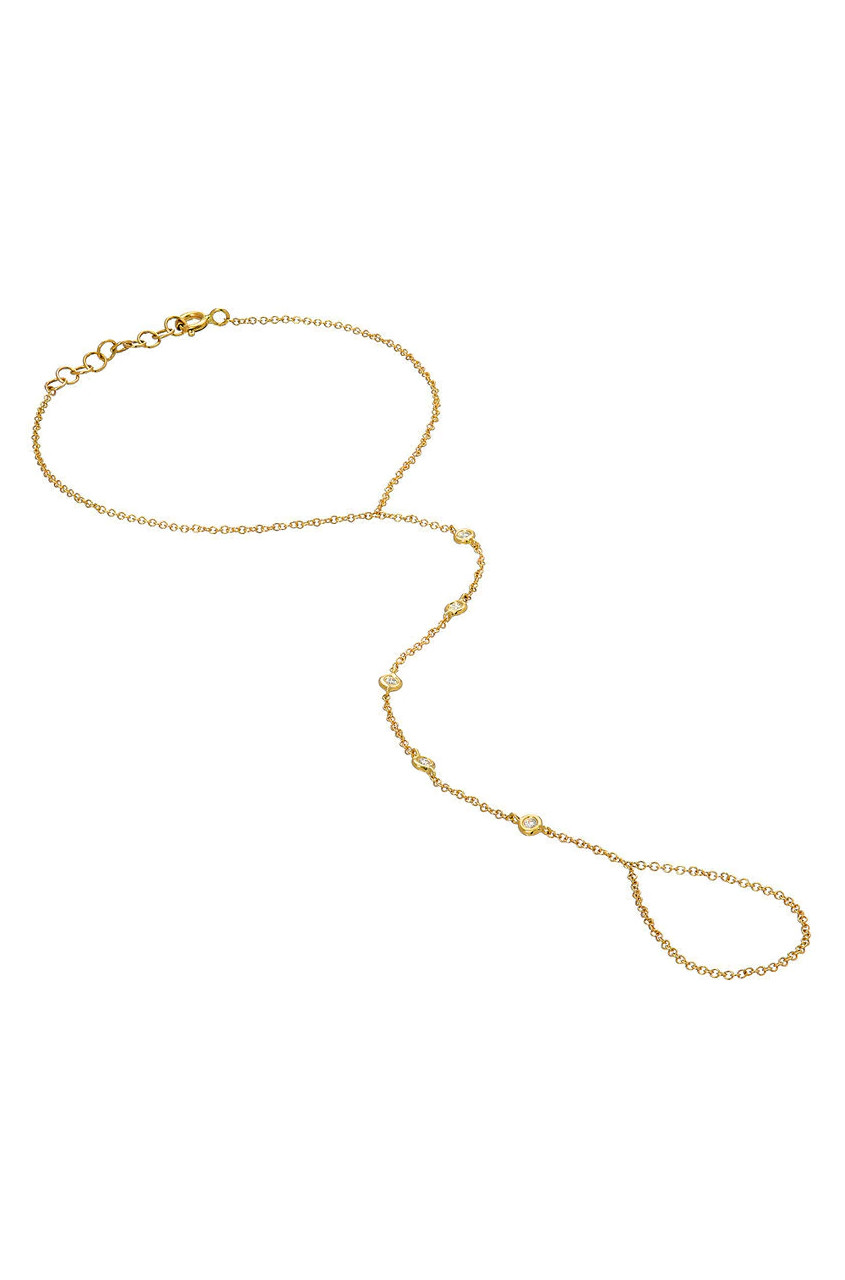 14k gold bezel diamond hand chain