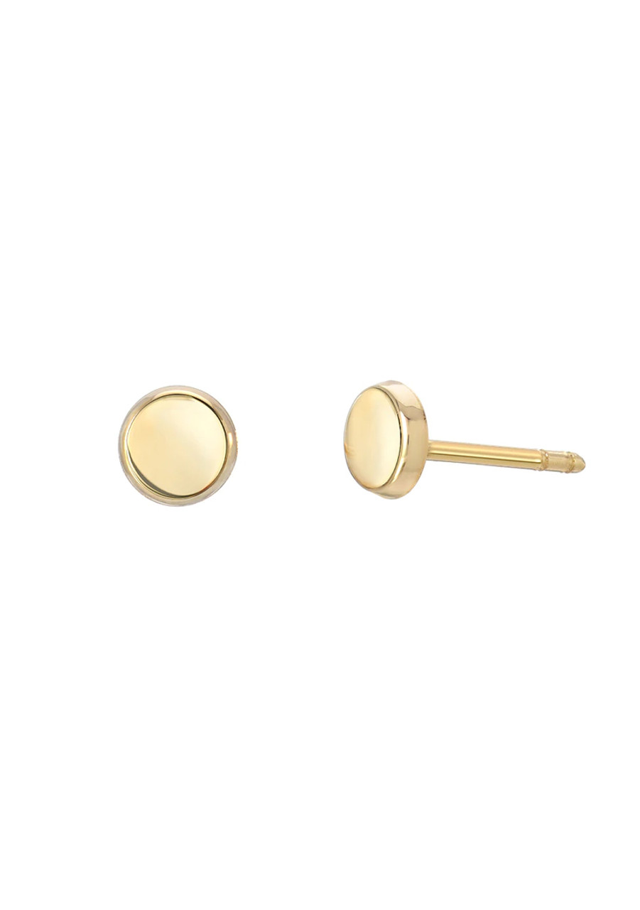 14k gold small discs stud earrings