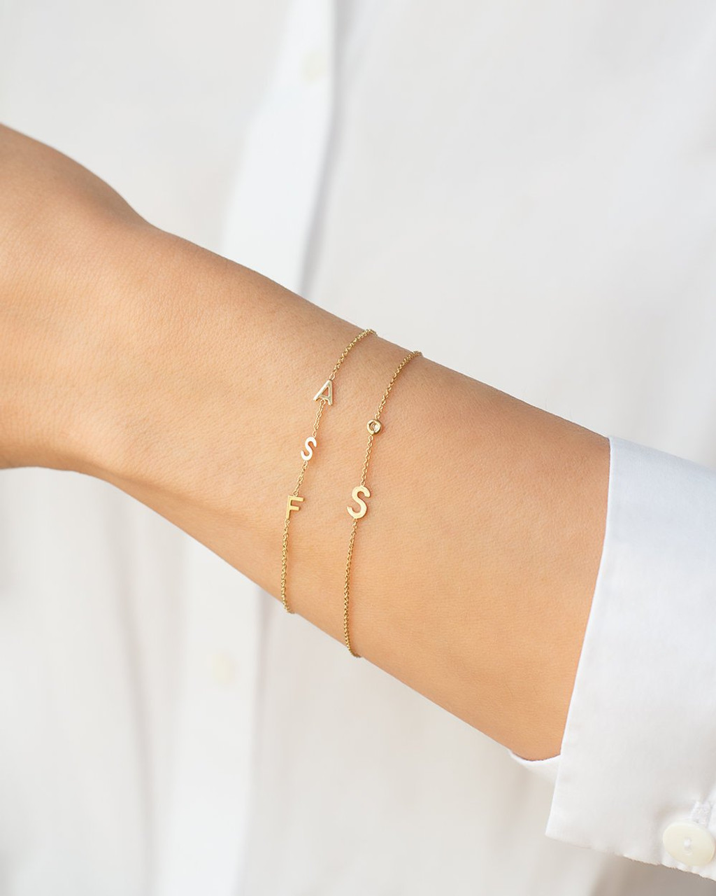14k Gold Multiple Initials Bracelet