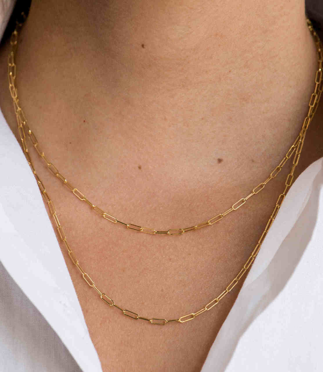 14k. gold open link chain necklace