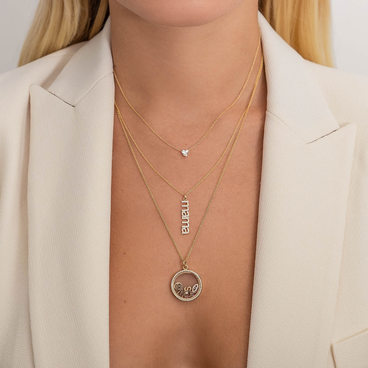 14k Gold Charm Locket Necklace