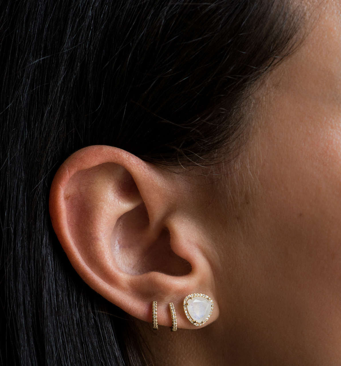 Diamond moonstone stud earrings