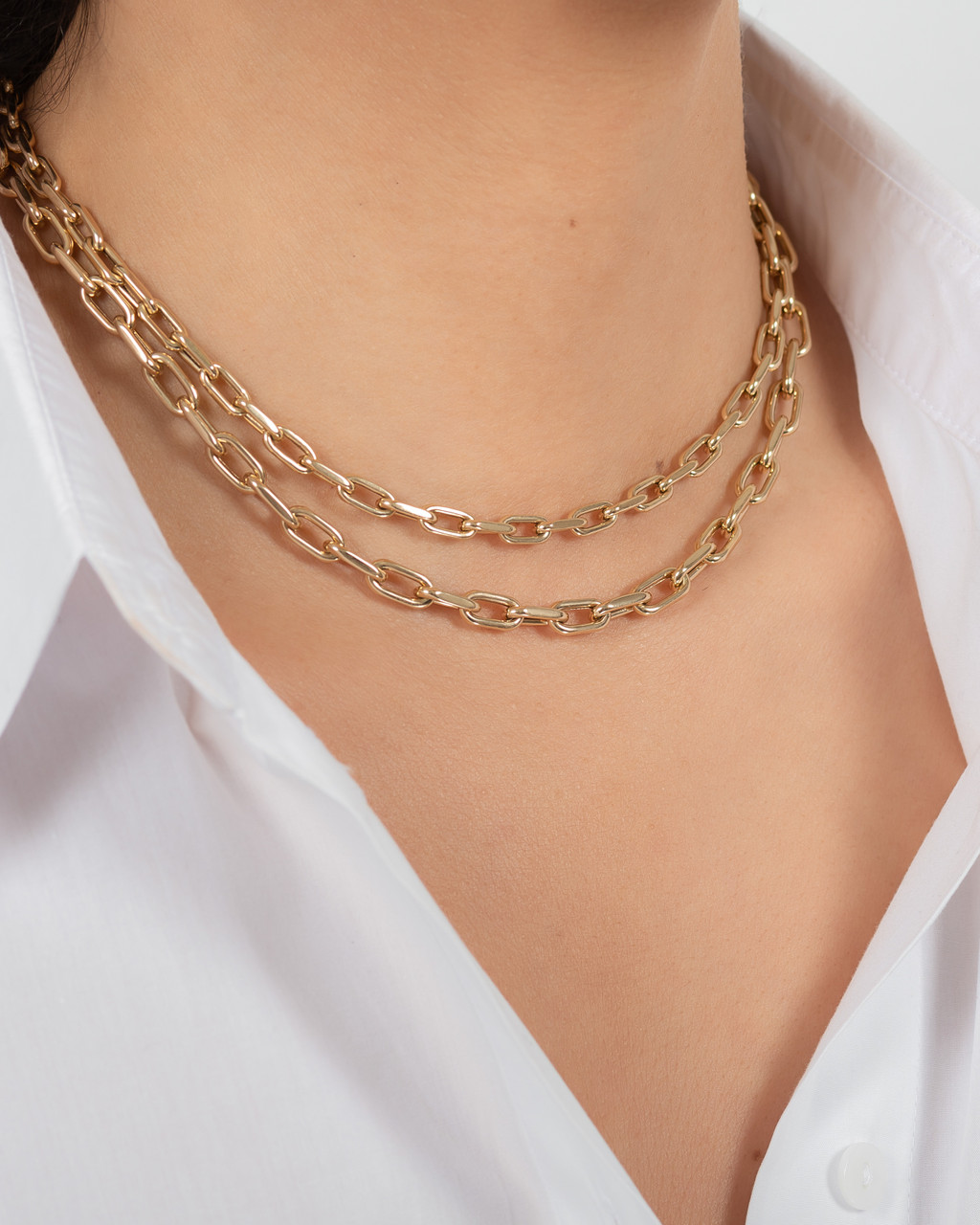 14k Gold Large Open Link Chain Necklace