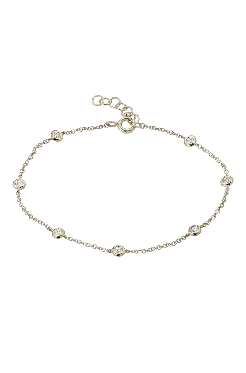 14k diamond by the yard anklet