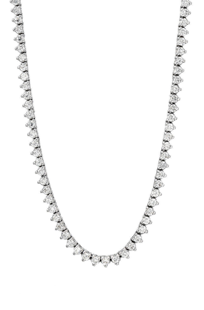 3 Prong Diamond Tennis Necklace