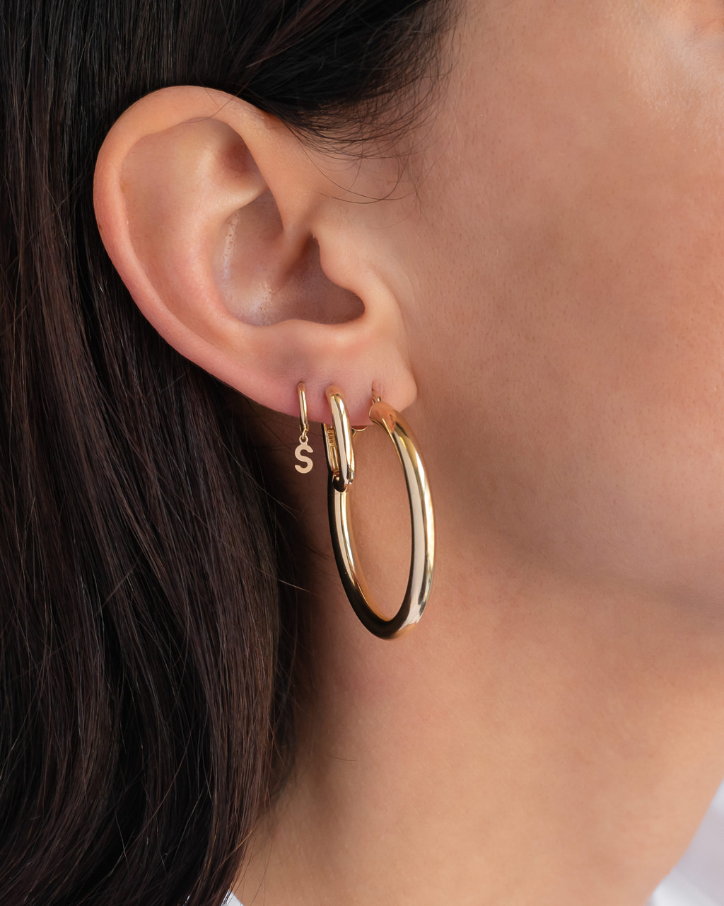 14k Gold Small Hoop Earrings with Letters