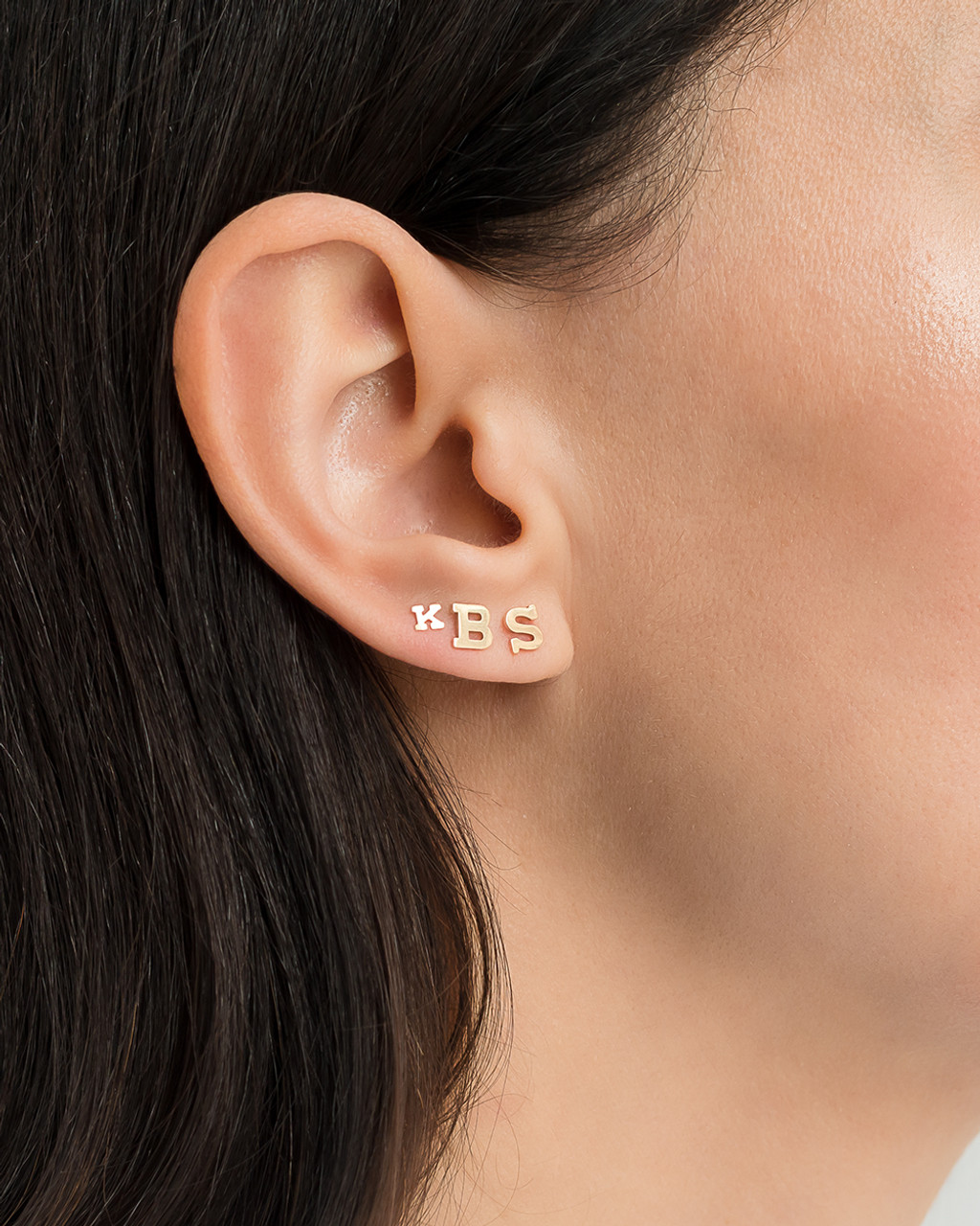 14k Gold Initial Stud Earrings