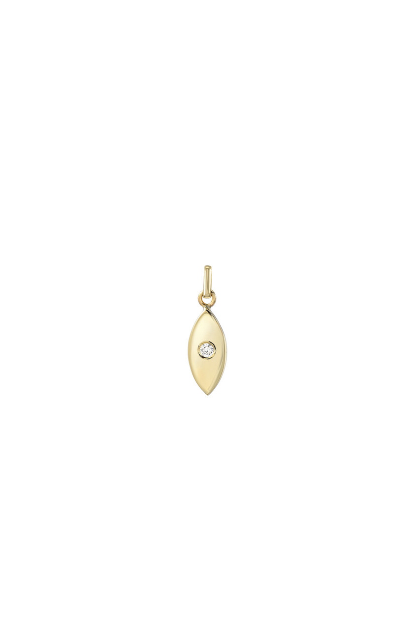 14k gold evil eye with tiny diamond pendant