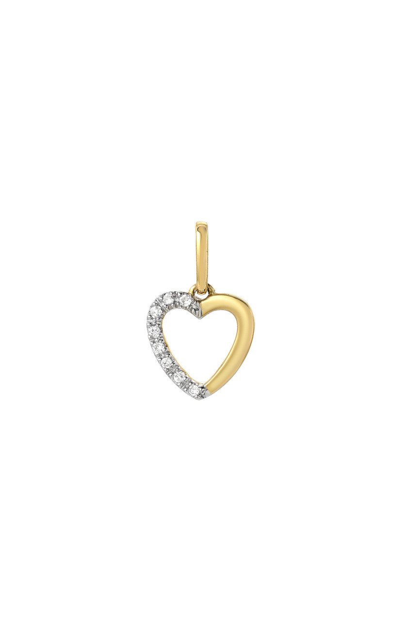 Diamond half heart charm