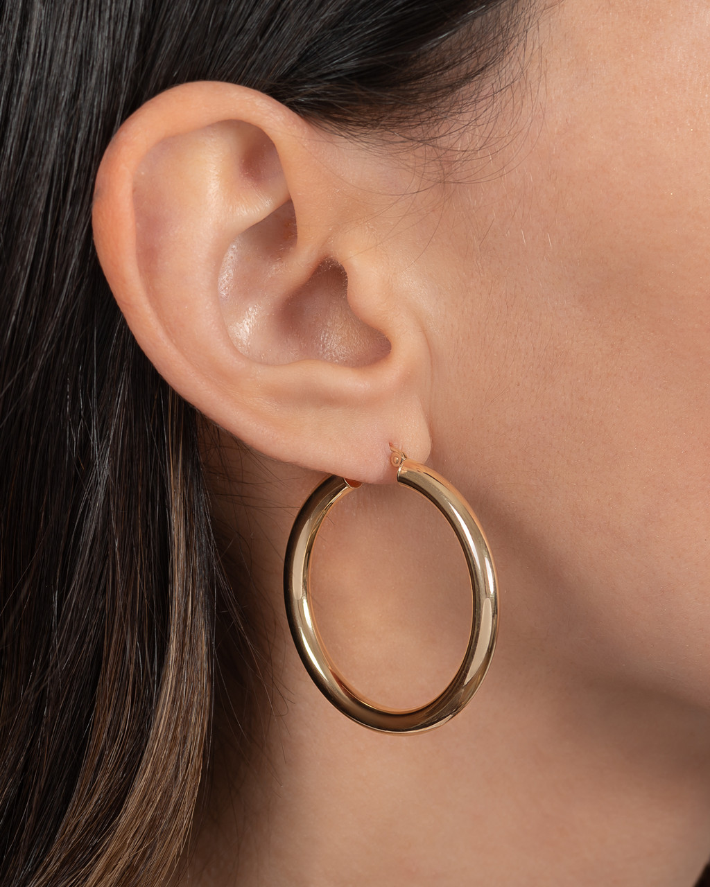 14k Gold Large Thick Hoop Earrings