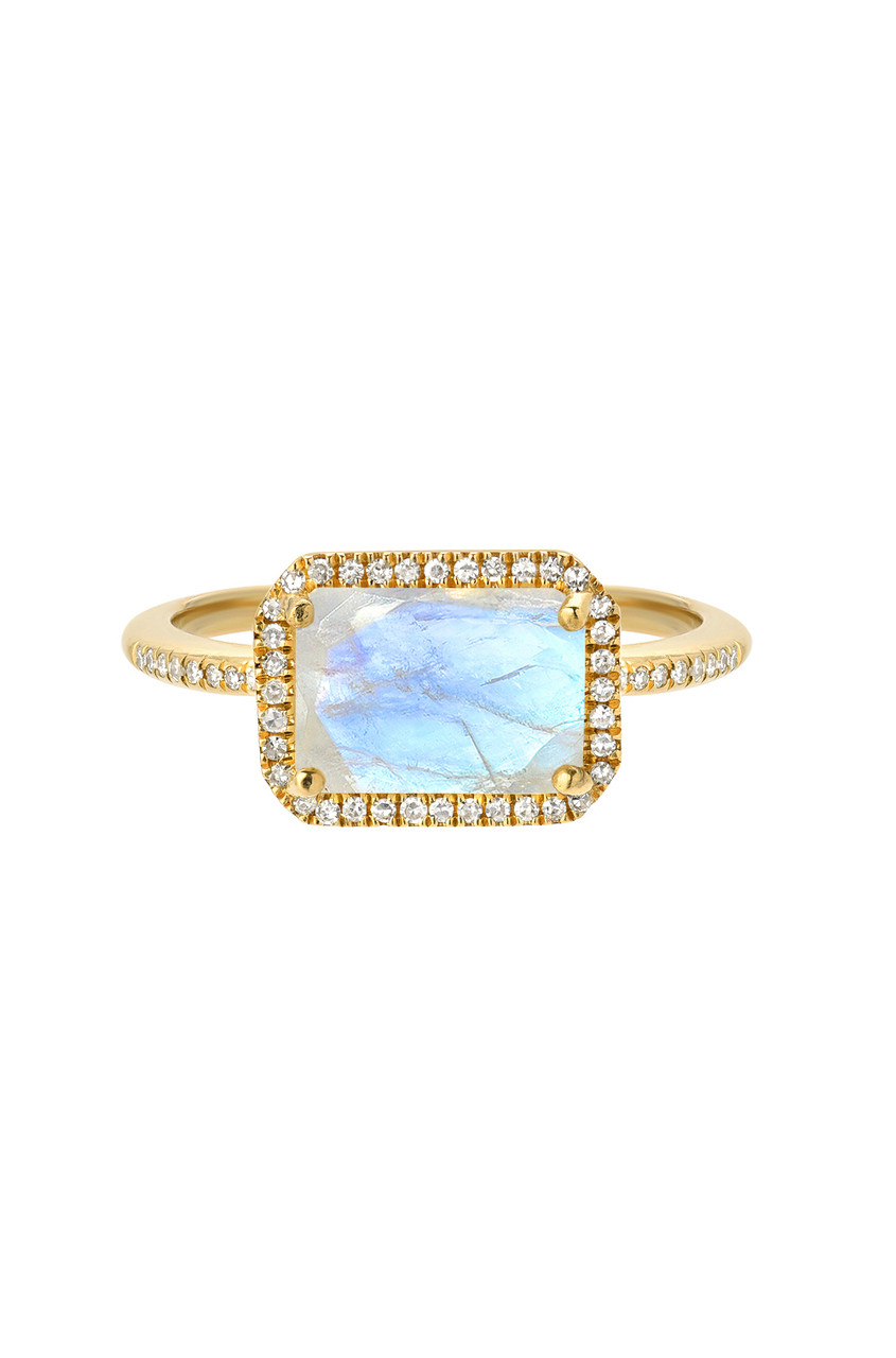 Diamond rectangle moonstone ring
