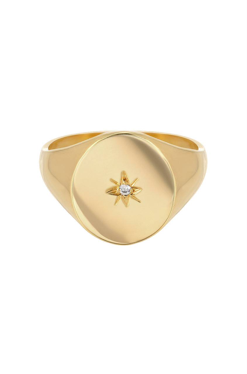 14k gold diamond star signet ring
