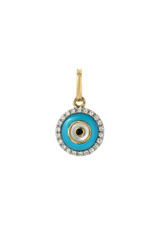 14k Gold Diamond Evil Eye Turquoise Pendant