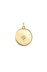 14k Gold Diamond Sunburst Disc Pendant