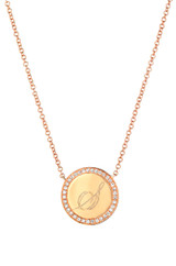 14k Gold Engraved Diamond Disc Necklace