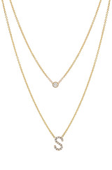Diamond Initial & Bezel Diamond Layer Necklace