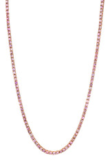4 Prong Pink Sapphire Tennis Necklace