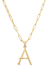 14k Gold Large Nail Initial Necklace