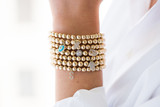 14k Gold Bead Bracelet with Initial Charm