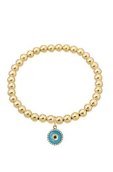 14k Gold Bead Bracelet with Diamond Charm