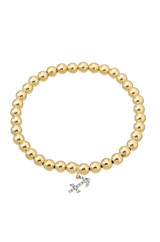 14k Gold Bead Bracelet with Diamond Zodiac