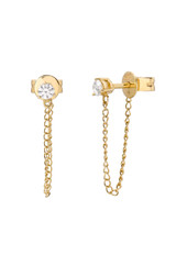 3 Prong Diamond Stud Chain Earrings