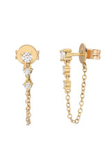Gradient Diamond Stud Chain Earrings