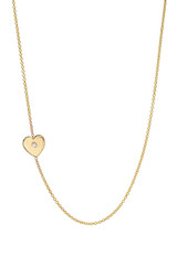 14k Gold Diamond Heart Asymmetrical Necklace