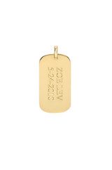 14k Gold Small Engraved Dog Tag Pendant
