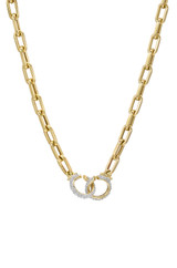 14k Gold Large Open Link Chain with Diamond Handcuffs Necklace
