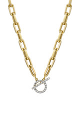 14k Gold Large Open Link Chain with Diamond Toggle Necklace