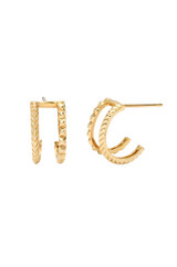 14k Gold Double Row Textured  Earrings - Out of Stock
