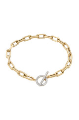 14k Gold Large Open Link Chain Bracelet with Diamond Toggle