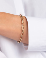 14k Gold Large Open Link Chain Bracelet with Diamond Handcuffs