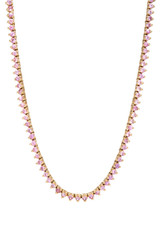 3 Prong Pink Sapphire Tennis Necklace