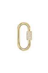 14k Gold Diamond Carabiner Lock Charm